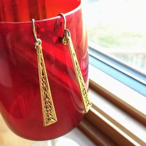 Vintage Art Nouveau style long dangling earrings